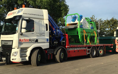 hiab lorry lifting heavy machinery